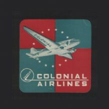 Vintage Airline label Colonial airlines luggage label #532